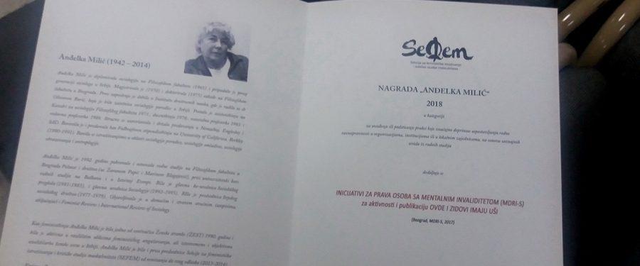 """Nagrada """"Anđelka Milić"""" našoj sugrađanki Biljani Janjić"""