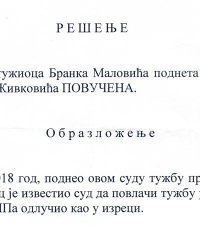 Malović povukao i drugu tužbu protiv Živkovića