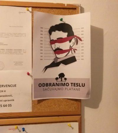 Akcija postavljanja plakata po naselju Tesla