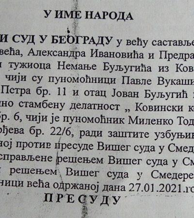 """Apelacioni sud odbacio tužbu Nemanje Buljugića protiv """"Kovinskog komunalca"""""""